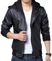 Men's detachable Slim fit Black Marble Faux Leather Moto Hooded Bomber Jacket image 2