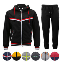Men's Athletic Sport Casual Running Jogging Gym Slim Fit Sweat Tracksuit Gym Set