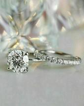 2.85Ct Round Cut White Diamond Engagement Wedding Ring Set in 14K White ... - £220.56 GBP