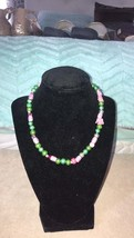 Handcrafted Green and pink glass beaded necklace - $12.00