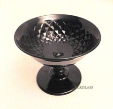 Imperial Glass Diamond Quilted   Black Glass Footed Sherbet, Nut Or Mint Dish - $18.87