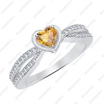 Heart Citrine & Diamond 14k White Gold Over Elegant Twisting Split Shank... - $103.99