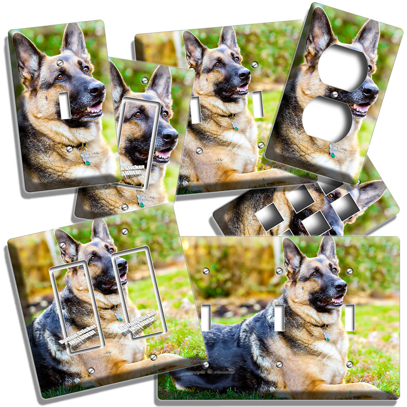 GERMAN SHEPHERD DOG RELAXING LIGHT SWITCH OUTLET WALL COVER GROOMING SALON DECOR