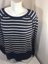 Sonoma Life Style Women Blouse Cotton Blue White Striped Scoop Neck Size L - $18.69