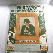 Norway 1915 Sheet Music Antique Land Midnight Sun Kitty Gordon Cover Art - $14.83