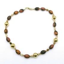 Vintage Napier Signed Goldtone Brown Plastic Marble Beaded Necklace - $19.39