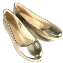 Rockport Adidas Gold Ballet Flats Sz 5.5 Womens Metallic Leather Shoe Ad... - $19.95