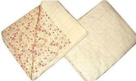 Pottery Barn 2 Ivory Quilted Standard Pillow Shams Reverse Red Pink Floral - $39.57