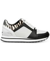 Michael Kors MK Women's Billie Trainer Mesh Sneakers Shoes Black Optic White image 2