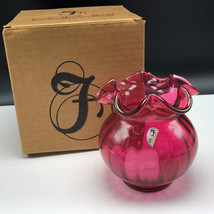 VINTAGE FENTON VASE original box art glassware usa glass Cranberry candl... - $84.15