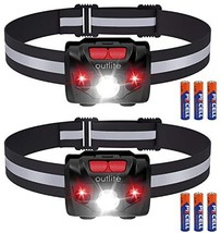 outlite 2 Pack LED Headlamp Flashlight with AAA Battery, Reflective Strip Head L - $23.00