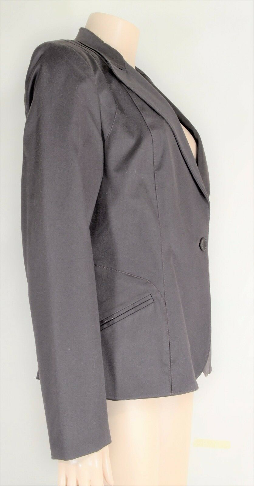 womyn jacket coat NWT SZ 8 dark brown 1-button closure lined NYC USA new image 6