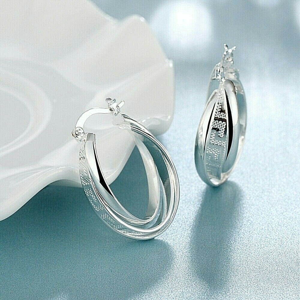 Primary image for Geometric Hoop Earrings 925 Sterling Silver NEW