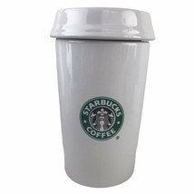 "2000 Starbucks Coffee Traveler Mug White Ceramic 8-1/2"" Canister Cookie Jar - $30.39"
