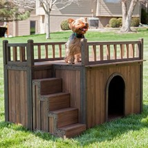 Outdoor Dog House Small Bed Wooden Shelter Puppy Wood Kennel Home Garden... - $133.76