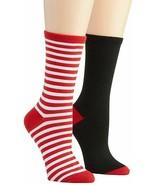 HUE Womens Stocking Stuffer Crew Socks Red White Black 2 Pair Pack $10 -... - $4.94