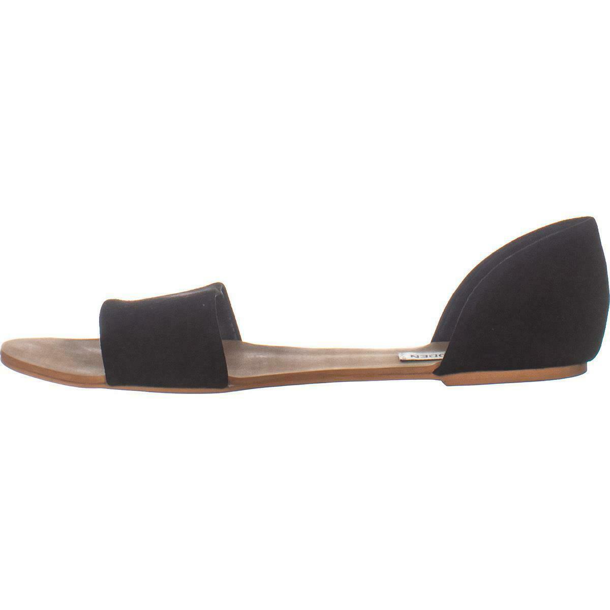 Steve Madden Corey Slip On Flat Sandals 271, Black Suede, 6 US image 4
