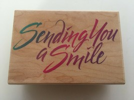 Hero Arts Sending You a Smile Stamp E1311 Letter Writing Card Making Craft Words - $8.10