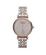 New Emporio Armani Classic Rose Gold Silver Stainless Steel Women's Watch AR1840 - $128.65