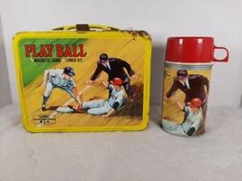 Vintage 1969 King Seeley Play Ball Baseball Metal Lunchbox & Thermos NICE - $124.99
