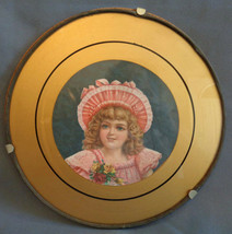 Antique Framed in Glass Picture Lithograph Pretty Little Victorian Girl ... - $22.99