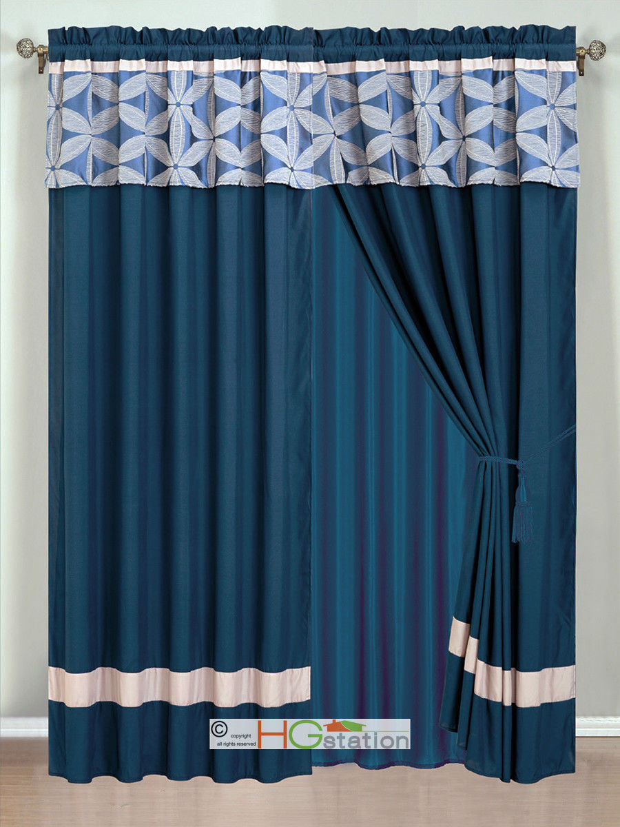 Primary image for 4P Jacquard Floral Petal Striped Curtain Set Navy Blue Silver Gray Valance Sheer