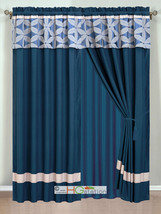 4P Jacquard Floral Petal Striped Curtain Set Navy Blue Silver Gray Valan... - $40.89