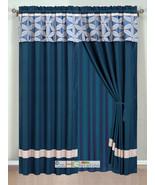 4P Jacquard Floral Petal Striped Curtain Set Navy Blue Silver Gray Valan... - $40.89