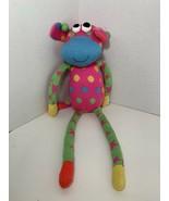 SCM Designs pink blue polka dot rainbow sock monkey style plush cow gira... - $9.89