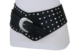 Damen West Gürtel Hip Hohe Taille Breit Schwarzer Stoff Silber Metallsch... - $29.32