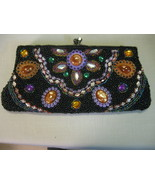 Black Beaded Clutch Hand Shoulder Dinner Bag Multi Color Rhinestone Cabo... - $35.95
