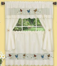 "Embellished Cottage Curtains Set (58x36"")COLORFUL BUTTERFLIES,DAISY MEAD... - $21.77"
