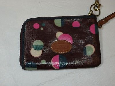 Fossil Wristlet zip around wallet card id coin Wine with Dots Pre-owned *^ image 2