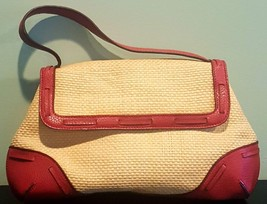 Pre Owned Women's Small  Liz Claiborne Burgundy &  Straw Hand Bag - $14.85