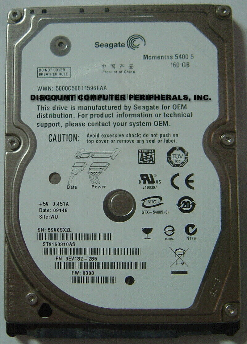 "New ST9160310AS Seagate 160GB SATA-300 9.5MM 2.5"" Hard Drive Free US Ship"