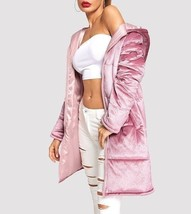 Zip Up Pocket Hooded Velvet Puffer Longline Coat Warm Outerwear Winter Overcoat - $55.19