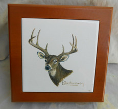 MENS WOOD DRESSER BOX CERAMIC TILE DEER BUCK STAG VALET JEWELRY FATHERS DAY - $42.07