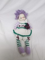 "VTG Ice Cream Doll Homemade Crotchet Grape Dress 20"" Tall Purple Hair - $29.69"