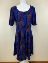 Lularoe 2XL XXL Blue Purple Orange Chevron Stripe Textured Nicole Dress - $24.99