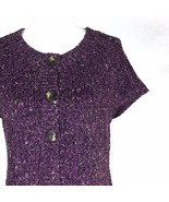 Charter Club Womens Chunky Knit Sweater Size M Short Sleeve Plum Cardigan - $26.50