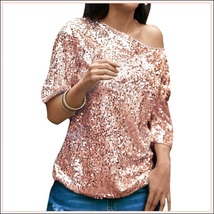 Pink Sparkling Sequined Shimmer Short Sleeve Off Shoulder Tank Tee Shirt Top  image 2