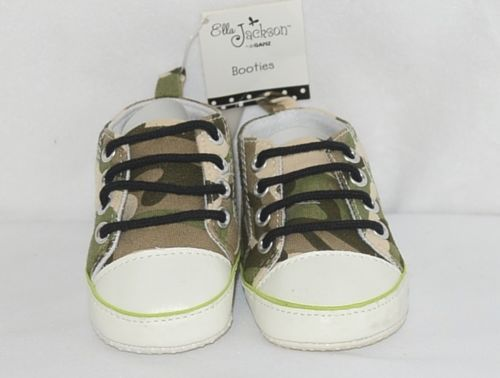 Ganz Ella Jackson Green Camo Infant Booties Shoes Size 0 to 12 Months