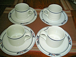 8-pc Dansk Bistro MARIBO Cup & Saucers Set Blue Red Flower Excellent - $24.99