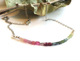 Rainbow Tourmaline Necklace with Delicate Rectangle Stones, Dainty and C... - $28.99