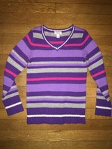 * Childrens Place purple silver striped v neck pullover sweater medium 7... - $5.94
