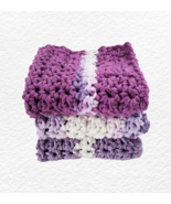 Purple Dish Cloths Lavender Kitchen Cotton Dishcloths Set of 3 Handmade ... - $20.75