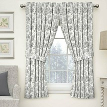 WAVERLY CHARMED LIFE Toile Curtain Panel w Tieback Cotton Black Onyx 52x63 - $29.69