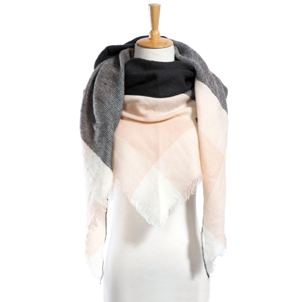 "Top quality Winter Scarf Plaid Scarf Designer Unisex Acrylic Basic Shawls Women"" image 2"