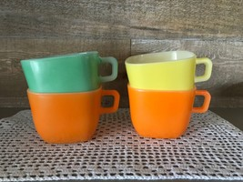 Vintage Opale France Square Coffee Mugs Set of Four Two Orange One Green... - $43.35