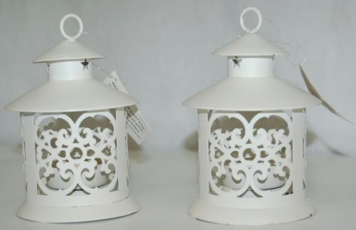 Creamy White Color Candle Lanterns Two Piece Set Cut Out Designs Along Sides